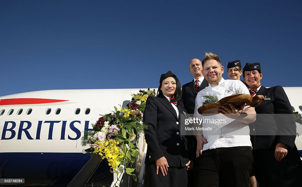 Celebrity chef Nelly Robinson poses with cabin staff in front of a British Airways 777-300 on June 30, 2016 in Sydney, Australia. Jessie J played an acoustic set for VIPs and competition winners to celebrate the arrival of summer in the UK.