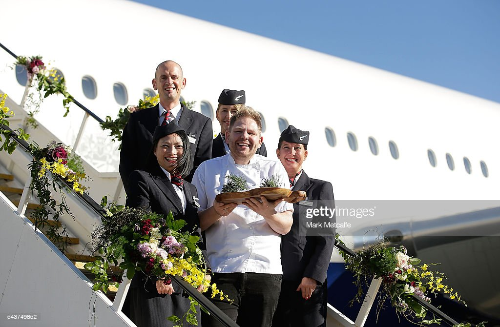 Celebrity chef Nelly Robinson poses with cabin staff on a British Airways 777-300 on June 30, 2016 in Sydney, Australia. Jessie J played an acoustic set for VIPs and competition winners to celebrate the arrival of summer in the UK.