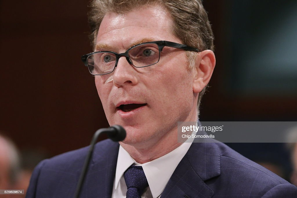 Celebrity chef, restaurateur and Food Network star Bobby Flay testifies during a hearing of the Congressional Horse Caucus in the House Visitors Center at the U.S. Capitol April 28, 2016 in Washington, DC. A member of the Breeders' Cup board of directors, Flay is a thoroughbred race horse owner and supports the Thoroughbred Horseracing Integrity Act of 2015 which would create a national horseracing anti-doping authority.