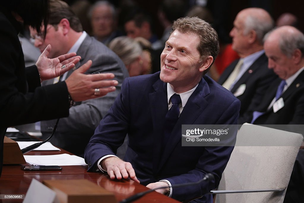 Celebrity chef, restaurateur and Food Network star Bobby Flay prepars to testify during a hearing of the Congressional Horse Caucus in the House Visitors Center at the U.S. Capitol April 28, 2016 in Washington, DC. A member of the Breeders' Cup board of directors, Flay is a thoroughbred race horse owner and supports the Thoroughbred Horseracing Integrity Act of 2015 which would create a national horseracing anti-doping authority.