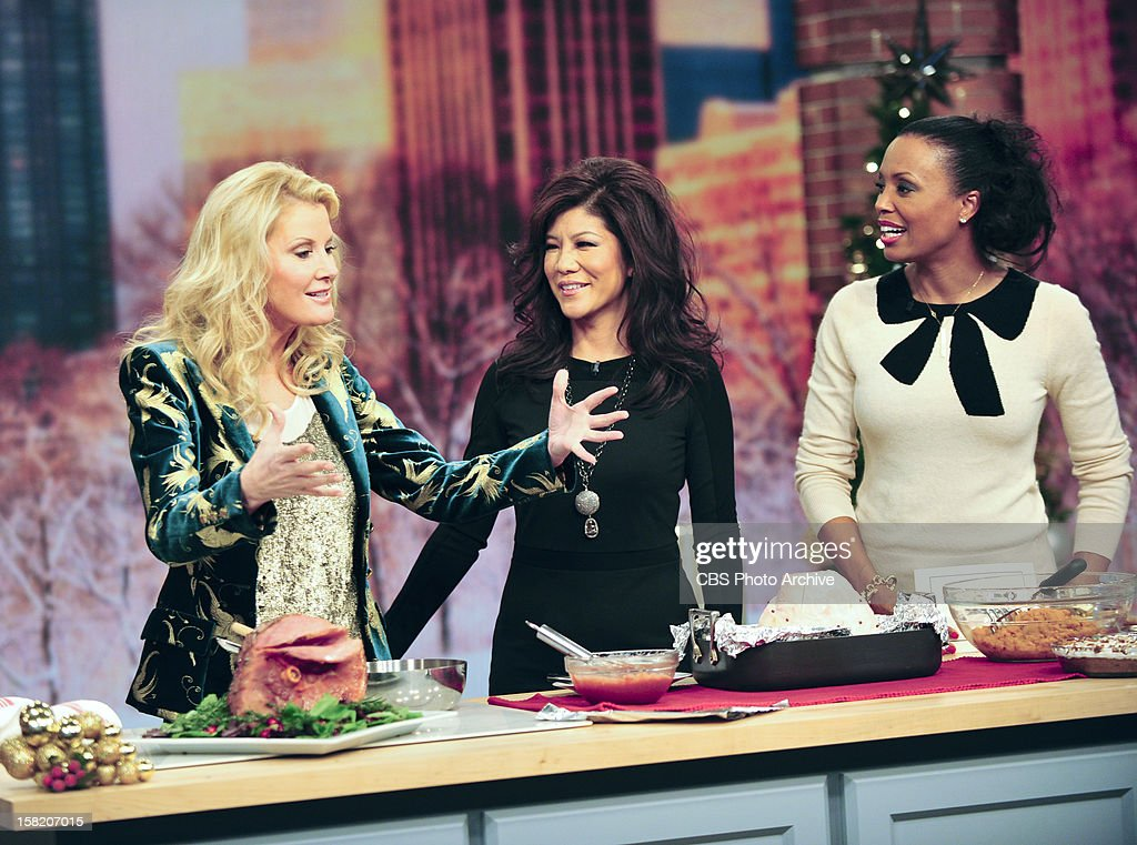 """Celebrity chef Sandra Lee joins the ladies of THE TALK for the first time to cook a semi-homemade holiday feast as part of the """"Talk Takeaway"""" series, Monday, December 10, 2012 on the CBS Television Network. Sandra Lee, from left, Julie Chen and Aisha Tyler, shown."""