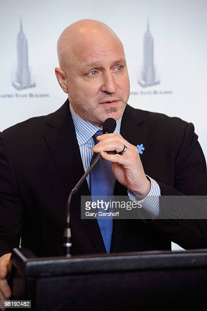 Celebrity chef Tom Colicchio lights The Empire State Building on April 1 2010 in New York City