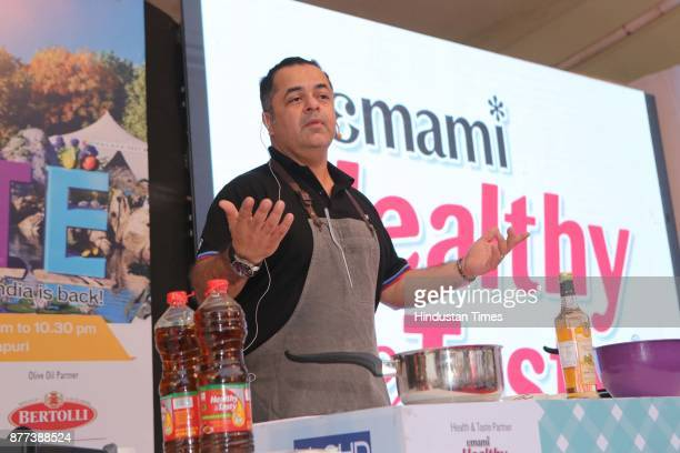 Celebrity chef Vicky Ratnani conducts a master class during the Hindustan Times Palate Fest 2017 at Nehru Park on November 18 2017 in New Delhi India...
