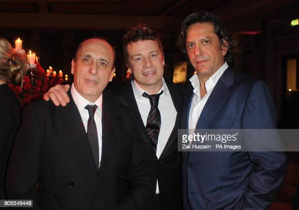Celebrity chefs Gennaro Contaldo Jamie Oliver and Giorgio Locatelli attend Jamie Oliver's Big Night Out a fundraising event for the Fifteen...