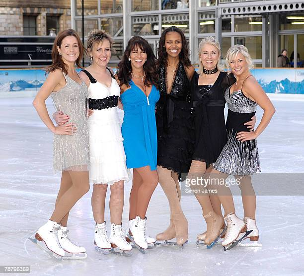Celebrity contestants Natalie Pinkham Aggie Mackenzie Linda Lusardi Samantha Mumba Sarah Greene and Suzanne Shaw take part in the 'Dancing on Ice'...