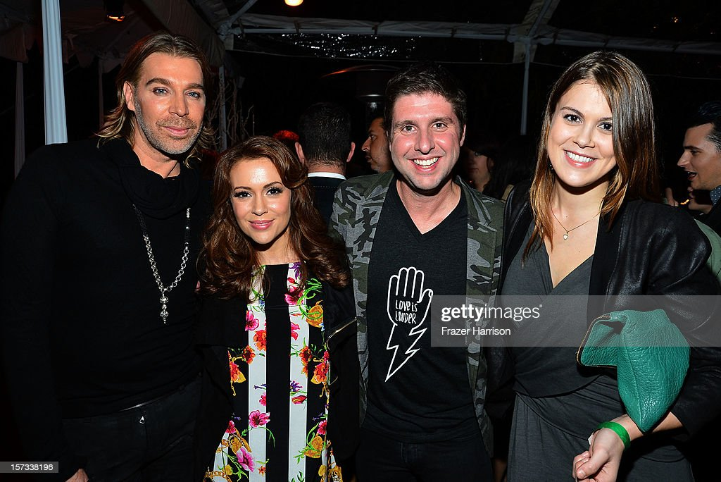 Celebrity Hair Stylist Chaz Dean, actress Alyssa Milano, Courtney Knowles, actress Lindsey Shaw arrive at Chaz Dean's Holiday Party Benefitting the Love is Louder Movement on December 1, 2012 in Los Angeles, California.