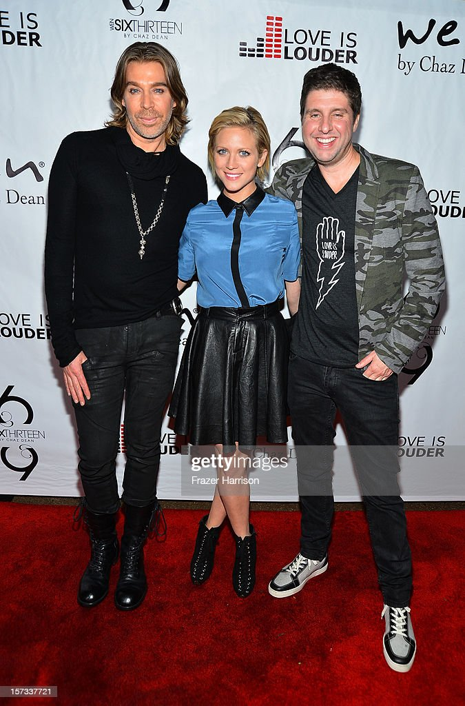 Celebrity Hair Stylist Chaz Dean, actress Brittany Snow and Love is Louder Director Courtney Knowles arrive at Chaz Dean's Holiday Party Benefitting the Love is Louder Movement on December 1, 2012 in Los Angeles, California.