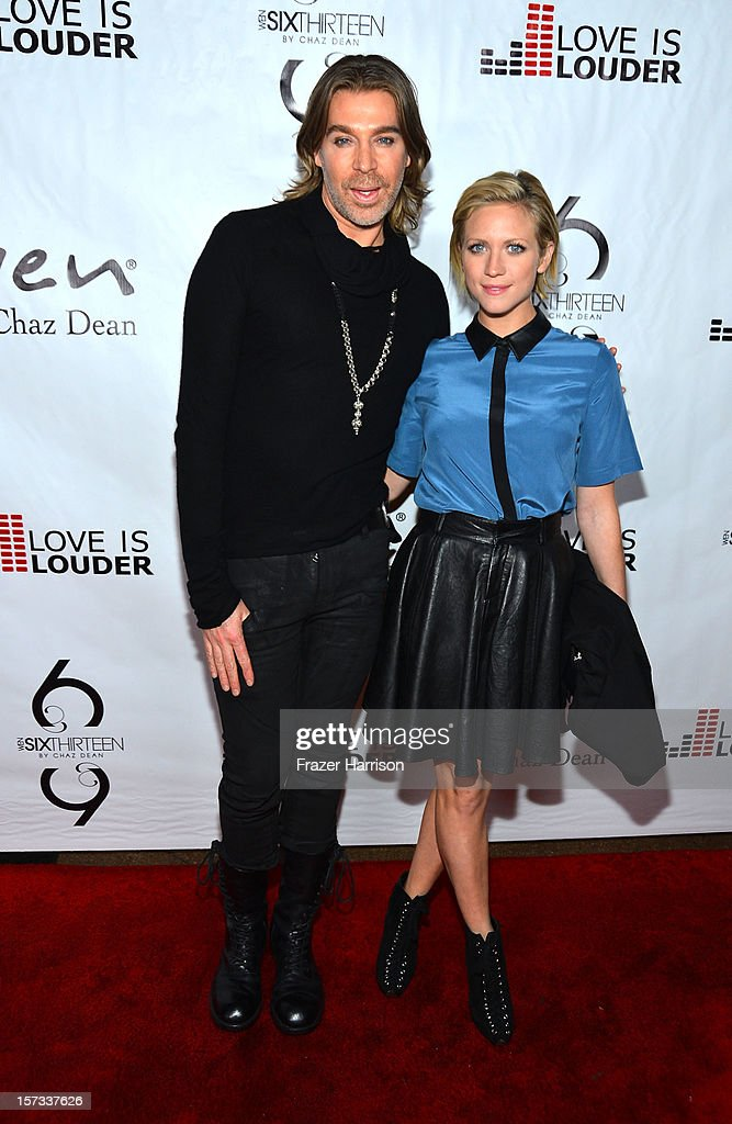 Celebrity Hair Stylist Chaz Dean and actress Brittany Snow arrives at Chaz Dean's Holiday Party Benefitting the Love is Louder Movement on December 1, 2012 in Los Angeles, California.