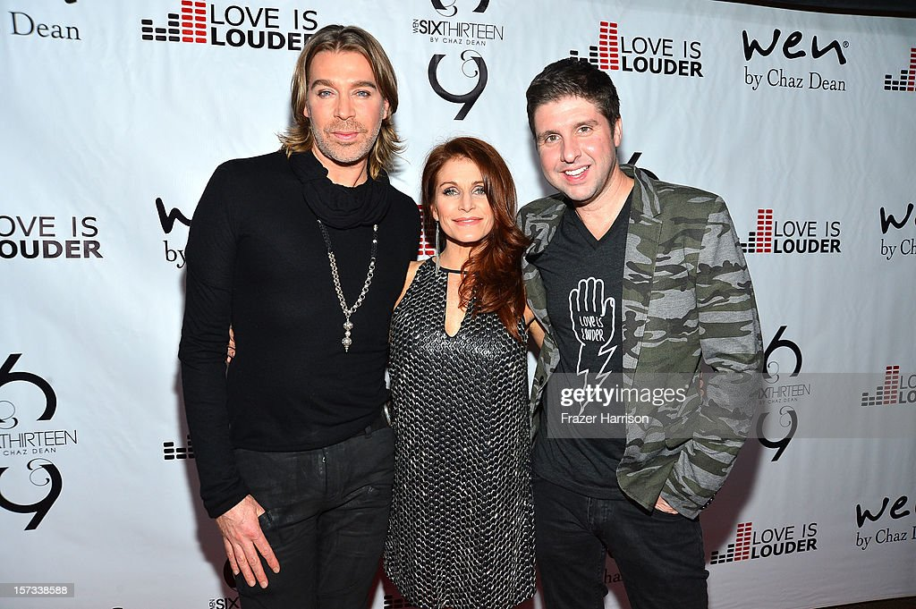Celebrity Hair Stylist Chaz Dean and Joanne Ferra, Courtney Knowles arrive at Chaz Dean's Holiday Party Benefitting the Love is Louder Movement on December 1, 2012 in Los Angeles, California.