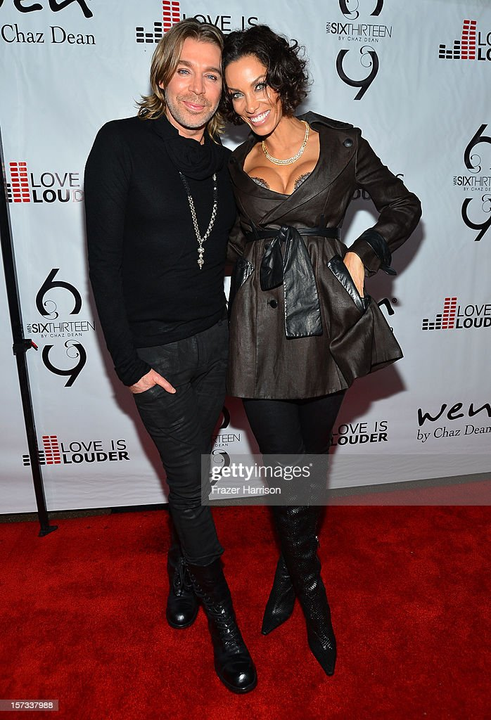 Celebrity Hair Stylist Chaz Dean and television personality Nicole Murphy arrives at Chaz Dean's Holiday Party Benefitting the Love is Louder Movement on December 1, 2012 in Los Angeles, California.