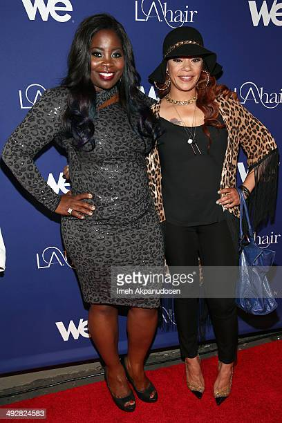 Celebrity hairstylist Kim Kimble and singer Faith Evans attend WE tv's LA Hair Season 3 Premiere Event on May 21 2014 in Santa Monica California