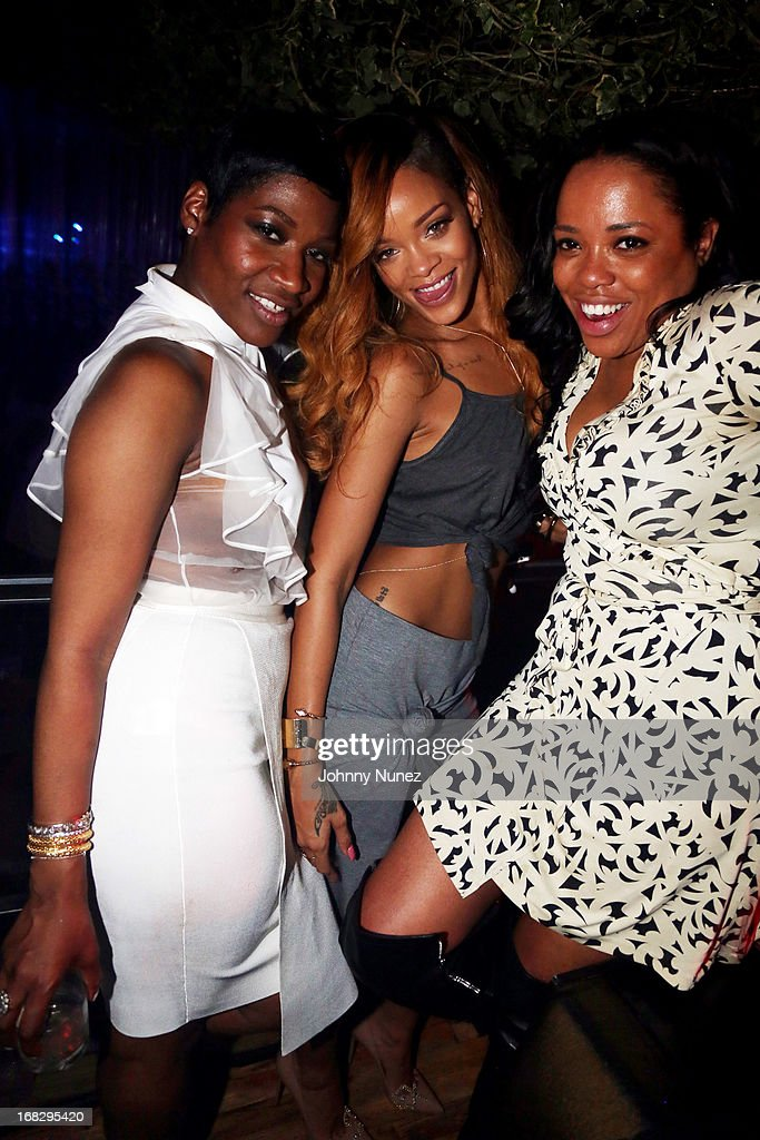 Celebrity hairstylist Ursula Stephen, recording artist <a gi-track='captionPersonalityLinkClicked' href=/galleries/search?phrase=Rihanna&family=editorial&specificpeople=453439 ng-click='$event.stopPropagation()'>Rihanna</a>, and guest attend Talib Kweli's Album Release Party at Greenhouse on May 7, 2013, in New York City.