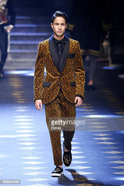 Celebrity Juan Pablo Zurita walks the runway at the Dolce Gabbana show during Milan Men's Fashion Week Fall/Winter 2017/18 on January 14 2017 in...