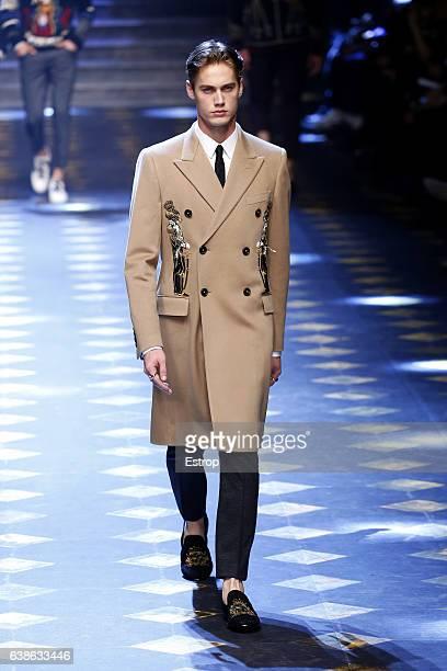 Celebrity Neels Visser walks the runway at the Dolce Gabbana show during Milan Men's Fashion Week Fall/Winter 2017/18 on January 14 2017 in Milan...