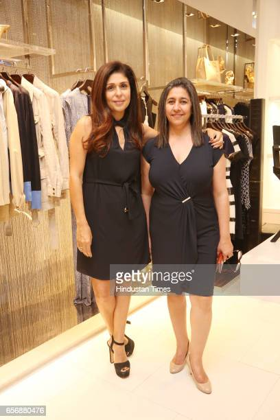 Celebrity stylist Anaita Shroff Adajania and Dinaz Madhukar during an event at Michael Kors store at DLF Emporio Mall on March 20 2017 in New Delhi...