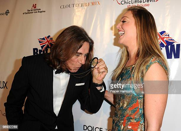 Celebrity Stylist George Blodwell poses with actress Elisabeth Rohm at the 2nd Annual Genlux Britweek Designer Of The Year Fashion Awards And Show at...