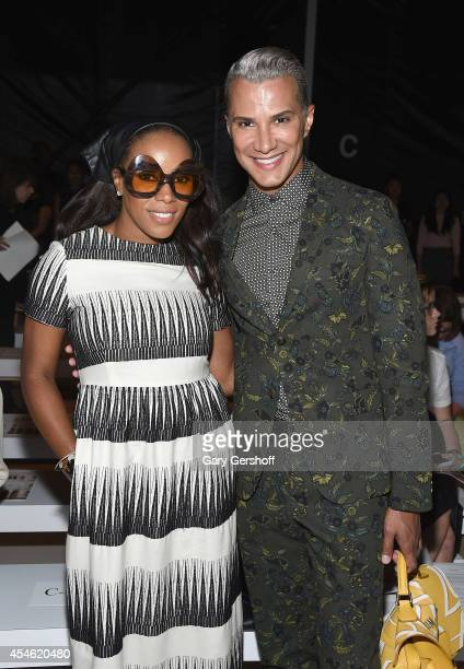 Celebrity stylist June Ambrose and TV personality Jay Manuel attend Tadashi Shoji during MercedesBenz Fashion Week Spring 2015 at The Salon at...