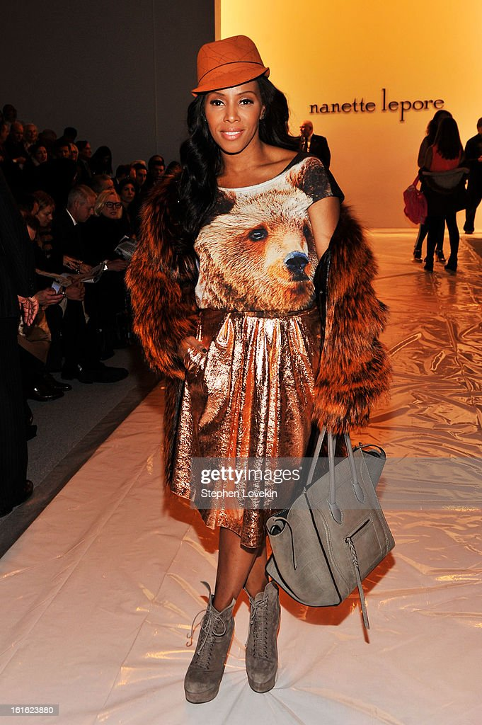 Celebrity stylist June Ambrose attends the Nanette Lepore Fall 2013 fashion show during Mercedes-Benz Fashion Week at The Stage at Lincoln Center on February 13, 2013 in New York City.