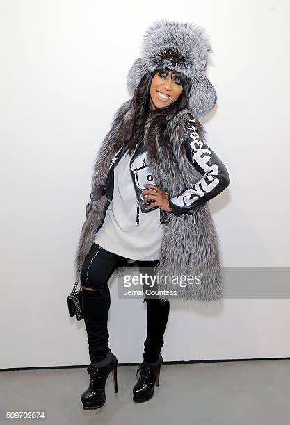 Celebrity stylist June Ambrose poses for a photo at the Clear By Kai Milla Fall 2016 Presentation at Lori Bookstein Fine Art on February 11 2016 in...