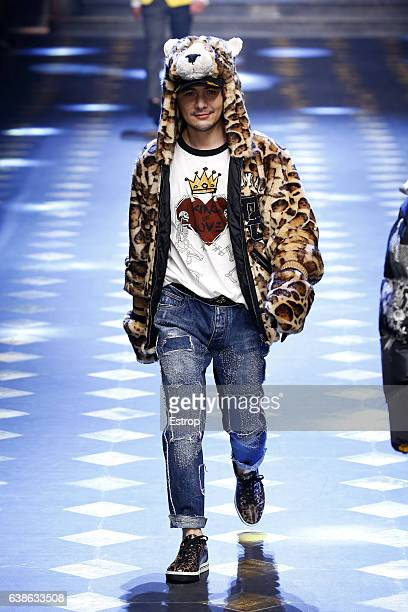 Celebrity Thomas Ye walks the runway at the Dolce Gabbana show during Milan Men's Fashion Week Fall/Winter 2017/18 on January 14 2017 in Milan Italy