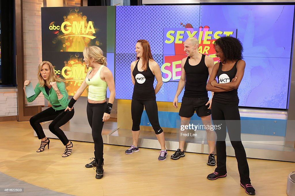 AMERICA - Celebrity trainer Anna Kaiser shares workout tips on 'Good Morning America,' 1/9/14, airing on the ABC Television Network. (Photo by Fred Lee/ABC via Getty Images) LARA SPENCER, ANNA KAISER, MODELS