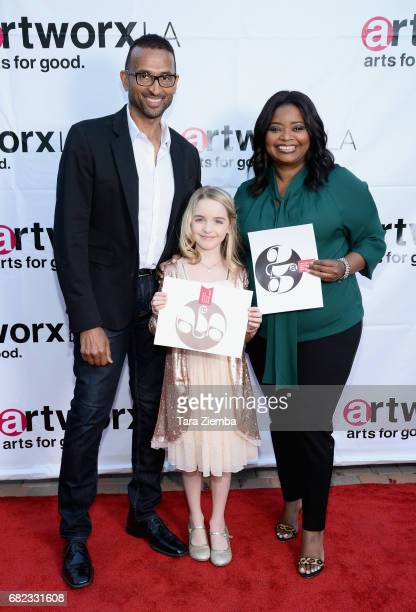 Celebrity Trainer Patrick Goudeau Actress Mckenna Grace and Actress/Honeree Octavia Spencer attend ARTWORXLA's 25th Anniversary Gala 'An Evening Of...