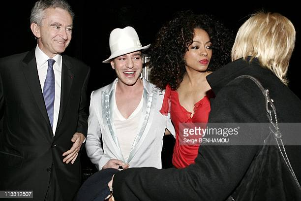 Celebs At Dior Ready To Wear Fall Winter 20052006 Paris On March 1St 2005 In Paris France Bernard Arnault John Galliano And Diana Ross
