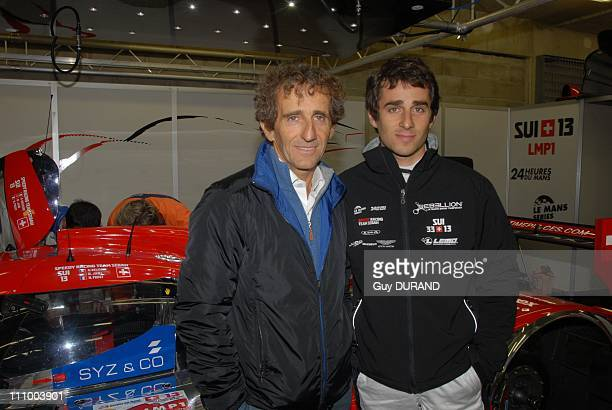 Celebs at free sessions of the 24H Le Mans race in Le Mans France on June 10th 2009 Alain Prost in the stands with his son Nicolas who will race for...