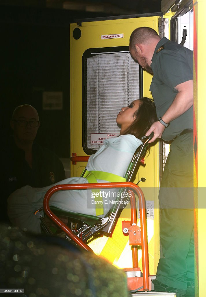 Celena from the X Factor band Fourth Impact is seen leaving the Fountain Studios in a ambulance after being eliminated on November 29 2015 in London...