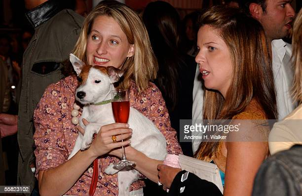 Celerie Kemble her dog Anchovy and Emilia Fanjul Pfeifler attend the opening of the Intermix flagship store in SoHo September 28 2005 in New York City