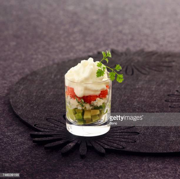 Celery mousse with avocado and crab