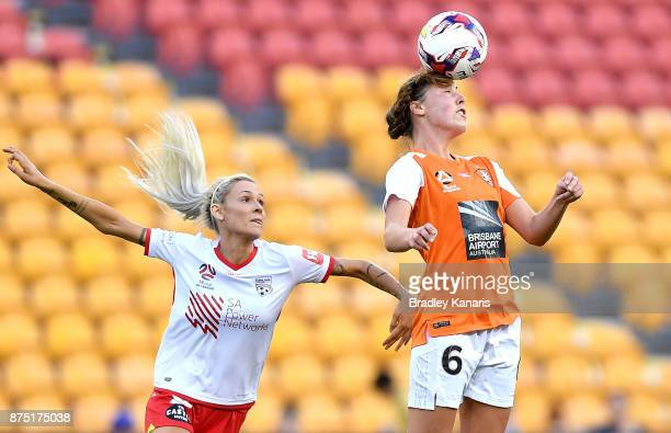 Celeste Boureille of the Roar heads the ball during the round four WLeague match between Brisbane and Adelaide at Suncorp Stadium on November 17 2017...
