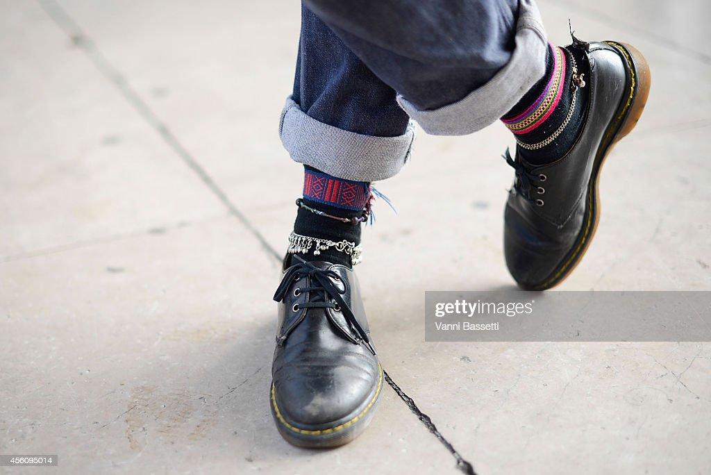 Celeste Galliot Dollet poses wearing Dr Martens shoes on September 25 2014 in Paris France