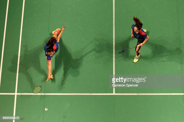 Celeste Lee and Chloe Lee of Australia compete during their R16 match against Chen Qingchen and Jia Yifan of China during the Australian Badminton...