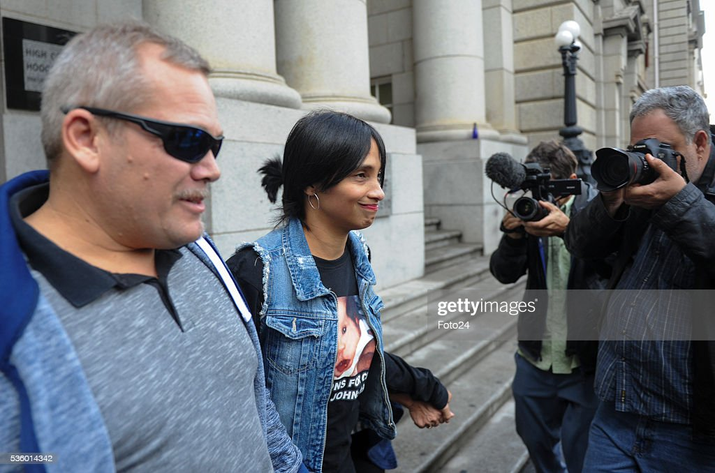 Celeste Nurse and Justin Smith outside the Western Cape High Court during sentencing of the woman who kidnapped Nurses child, Zephany in 1997 on May 30, 2016 in Cape Town, South Africa. During the trial, the prosecution revealed that it would call Zephany to testify against the woman who raised her as her own for 18 years.