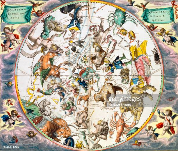 Celestial planisphere showing the signs of the zodiac 16601661 From The Celestial Atlas or The Harmony of the Universe by Andreas Cellarius published...
