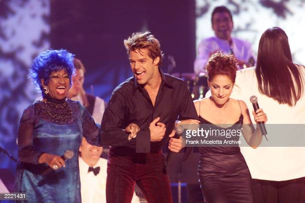 Celia Cruz Ricky Martin and Gloria Estefan perform during the 1st Annual Latin Grammy Awards broadcast at Staples Center in Los Angeles Calif on...