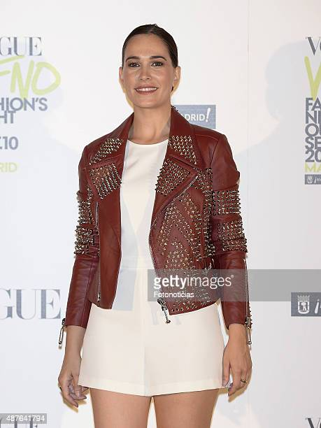 Celia Freijeiro attends the Vogue Fashion Night Out Madrid 2015 photocall at the Vogue VIP Tent on September 10 2015 in Madrid Spain