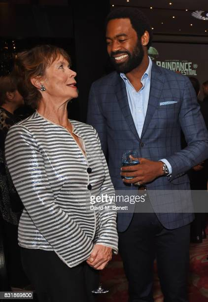 Celia Imrie and Nicholas Pinnock attend the Raindance Film Festival anniversary drinks reception at The Mayfair Hotel on August 15 2017 in London...