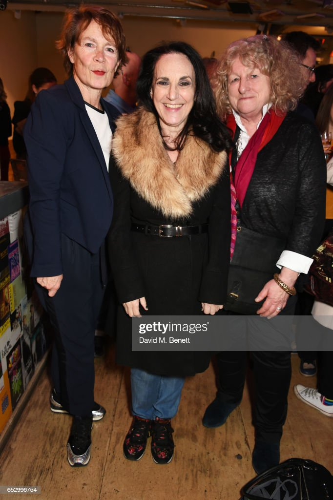 Celia Imrie, Lesley Joseph and Jenny Beavan attend the press night performance of 'A Dark Night In Dalston' at the Park Theatre on March 13, 2017 in London, England.