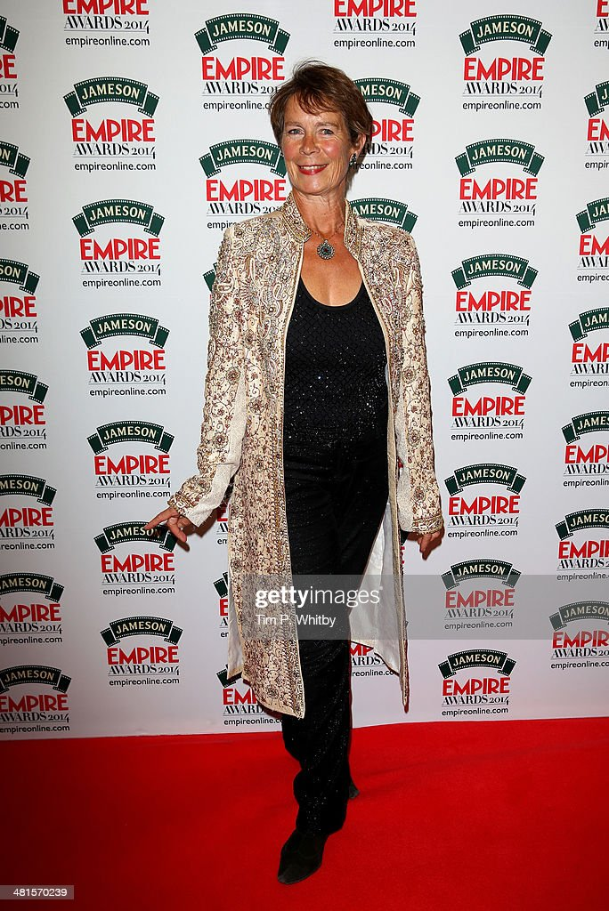 Celia Imrie poses during the Jameson Empire Awards 2014 at the Grosvenor House Hotel on March 30, 2014 in London, England. Regarded as a relaxed end to the awards show season, the Jameson Empire Awards celebrate the film industry's success stories of the year with winners being voted for entirely by members of the public. Visit empireonline.com/awards2014 for more information.
