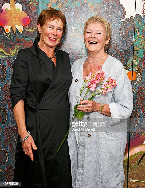 Celia Imrie poses with Dame Judi Dench following an 'In Conversation' with Sir Richard Eyre at The Hospital Club as part of the Mountview Academy's...