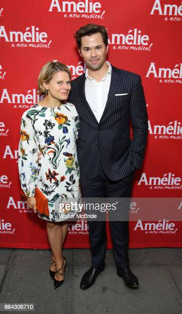 Celia KeenanBolger and Andrew Rannells attend the Broadway Opening Night performance of 'Amelie' at the Walter Kerr Theatre on April 3 2017 in New...
