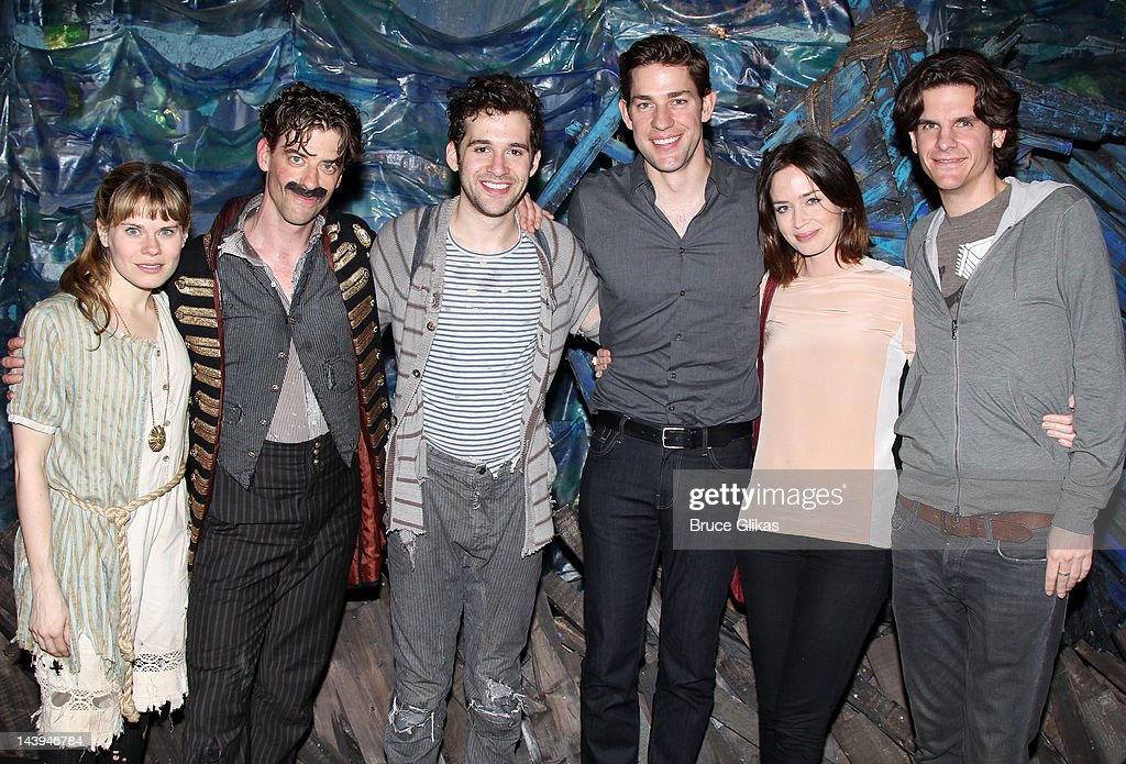 Celia Keenan-Bolger, <a gi-track='captionPersonalityLinkClicked' href=/galleries/search?phrase=Christian+Borle&family=editorial&specificpeople=2530960 ng-click='$event.stopPropagation()'>Christian Borle</a>, Adam Chanler-Berat, <a gi-track='captionPersonalityLinkClicked' href=/galleries/search?phrase=John+Krasinski&family=editorial&specificpeople=646194 ng-click='$event.stopPropagation()'>John Krasinski</a>, <a gi-track='captionPersonalityLinkClicked' href=/galleries/search?phrase=Emily+Blunt&family=editorial&specificpeople=213480 ng-click='$event.stopPropagation()'>Emily Blunt</a> and Director Alex Timbers pose backstage at the hit play 'Peter and The Starcatcher' on Broadway at The Brooks Atkinson Theater on May 5, 2012 in New York City.