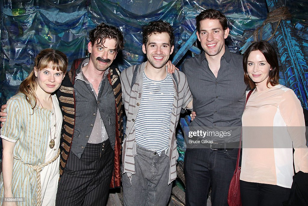 Celia Keenan-Bolger, <a gi-track='captionPersonalityLinkClicked' href=/galleries/search?phrase=Christian+Borle&family=editorial&specificpeople=2530960 ng-click='$event.stopPropagation()'>Christian Borle</a>, Adam Chanler-Berat, <a gi-track='captionPersonalityLinkClicked' href=/galleries/search?phrase=John+Krasinski&family=editorial&specificpeople=646194 ng-click='$event.stopPropagation()'>John Krasinski</a> and <a gi-track='captionPersonalityLinkClicked' href=/galleries/search?phrase=Emily+Blunt&family=editorial&specificpeople=213480 ng-click='$event.stopPropagation()'>Emily Blunt</a> pose backstage at the hit play 'Peter and The Starcatcher' on Broadway at The Brooks Atkinson Theater on May 5, 2012 in New York City.