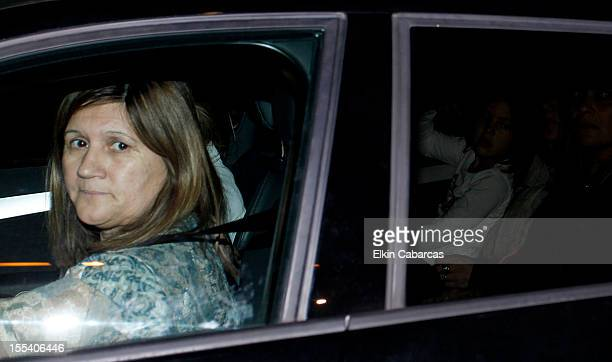 Celia María Cuccittini de Messi mother of Lionel Messi leave the Hospital USP Dexeus for second day after Thiago Messi Roccuzzo was born on November...