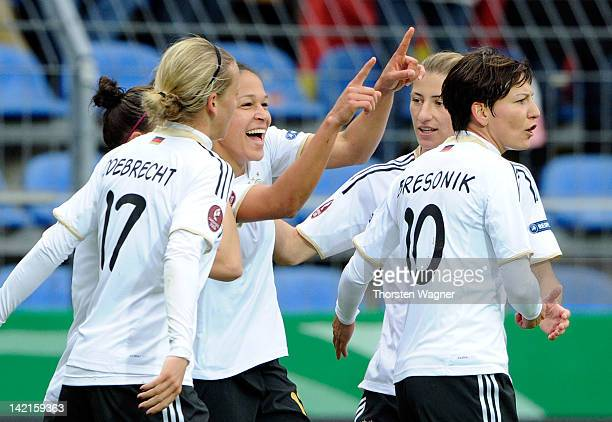Celia Okoyino da Mbabi celebrates after scoring her teams first goal during the UEFA Women's Euro Qualifier Group 2 match between Germany and Spain...
