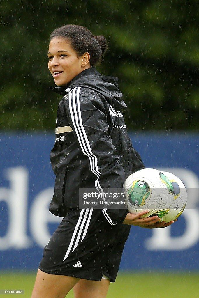 Celia Okoyino da Mbabi looks on during the German women's national team training session at HVB Club Sportzentrum on June 24, 2013 in Munich, Germany.