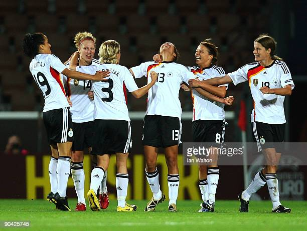 Celia Okoyino da Mbabi of Germany celebrates scoring the 2nd goal during the UEFA Women's Euro 2009 SemiFinal match between Germany and Norway at the...