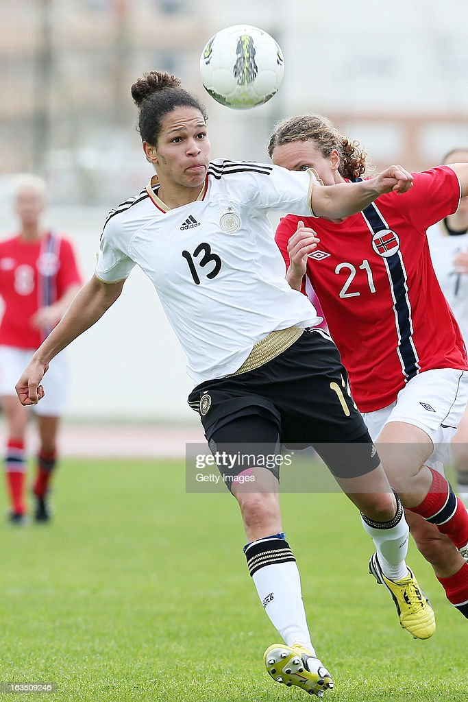 Celia Okoyino Da Mbabi #13 of Germany controls the ball during the Algarve Cup 2013 match between Norway and Germany at the Estadio Municipal de Lagos on March 11, 2013 in Lagos, Portugal.